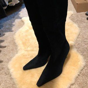 Black Faux Suede Tall Boots